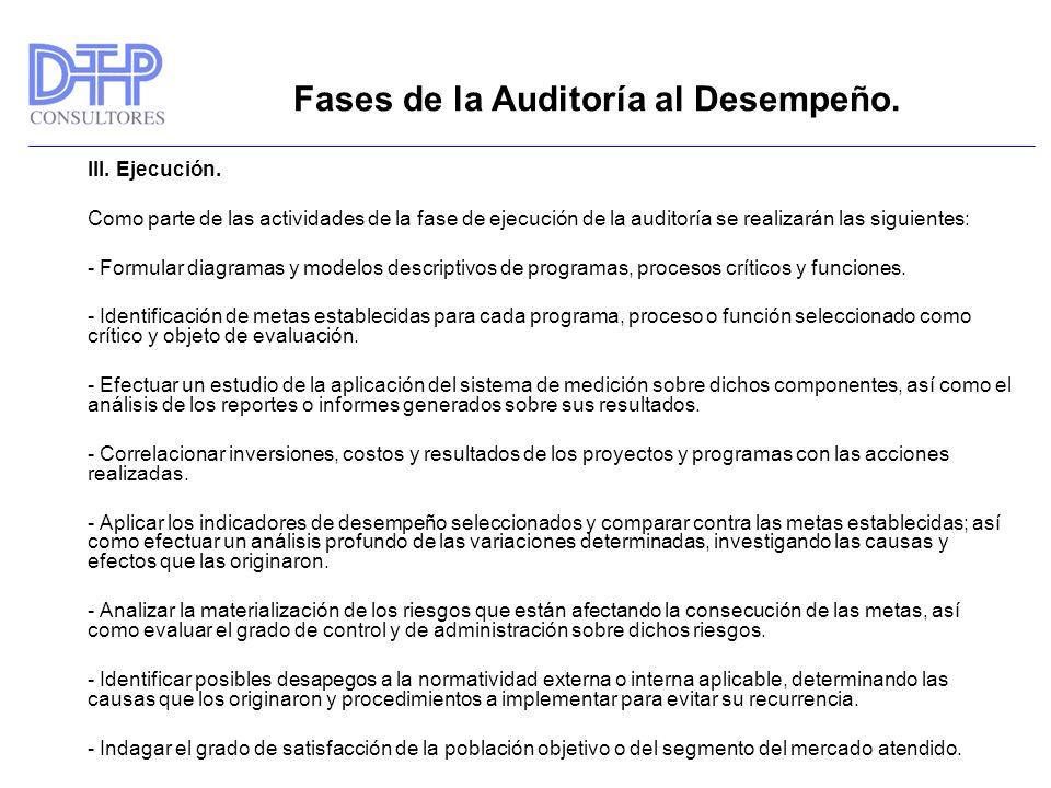 Fases de la Auditoría al Desempeño. III. Ejecución. Como parte de las actividades de la fase de ejecución de la auditoría se realizarán las siguientes