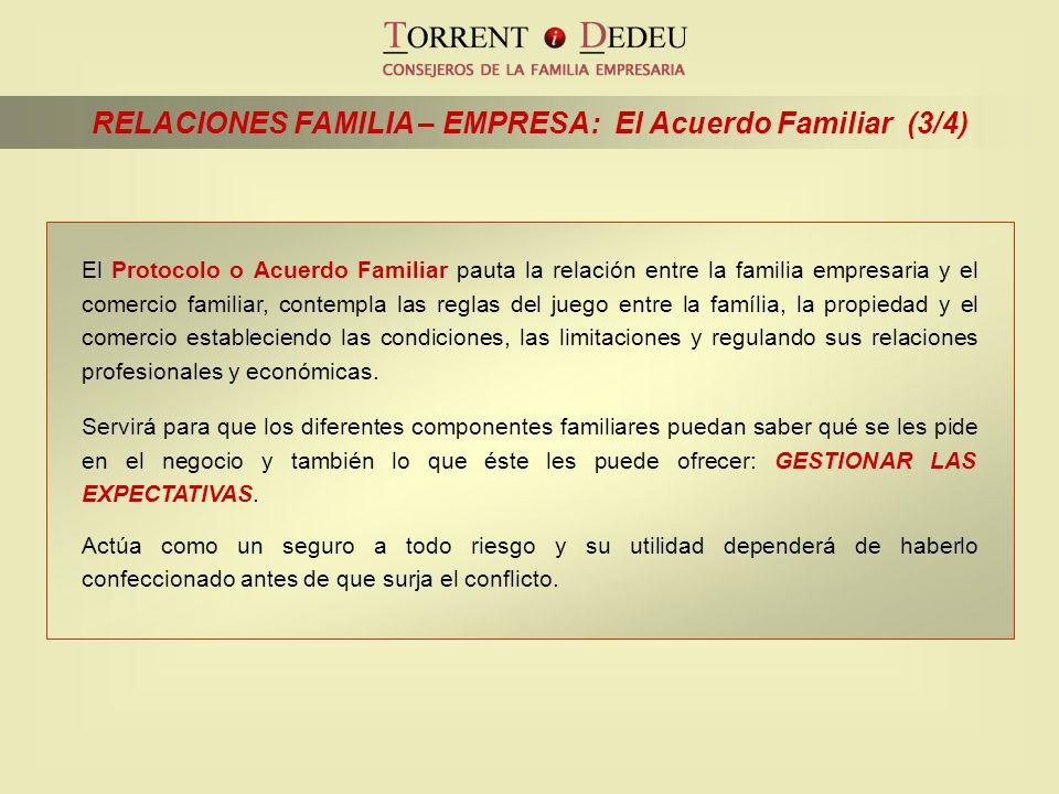 RELACIONES FAMILIA – EMPRESA: El Acuerdo Familiar (3/4) El Protocolo o Acuerdo Familiar pauta la relación entre la familia empresaria y el comercio fa