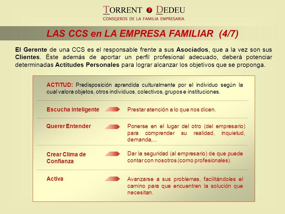 LAS CCS en LA EMPRESA FAMILIAR (4/7) Avanzarse a sus problemas, facilitándoles el camino para que encuentren la solución que necesitan. Activa Dar la