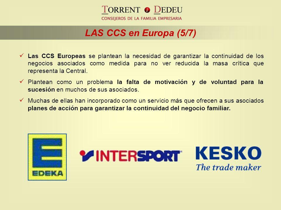 LAS CCS en Europa (5/7) Las CCS Europeas se plantean la necesidad de garantizar la continuidad de los negocios asociados como medida para no ver reduc