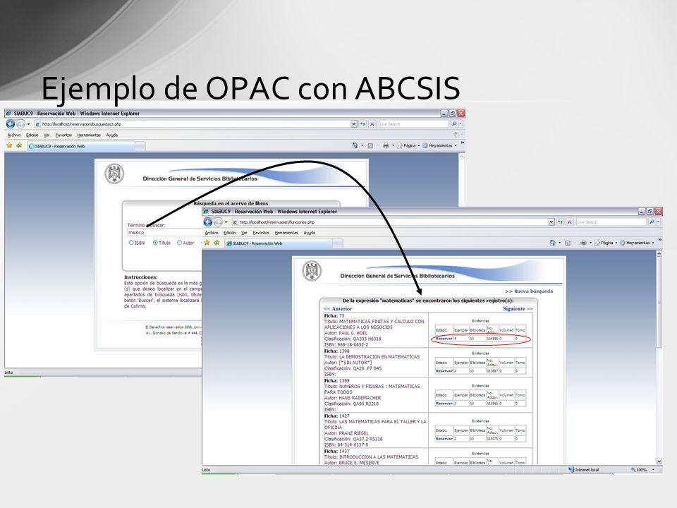 Ejemplo de OPAC con ABCSIS