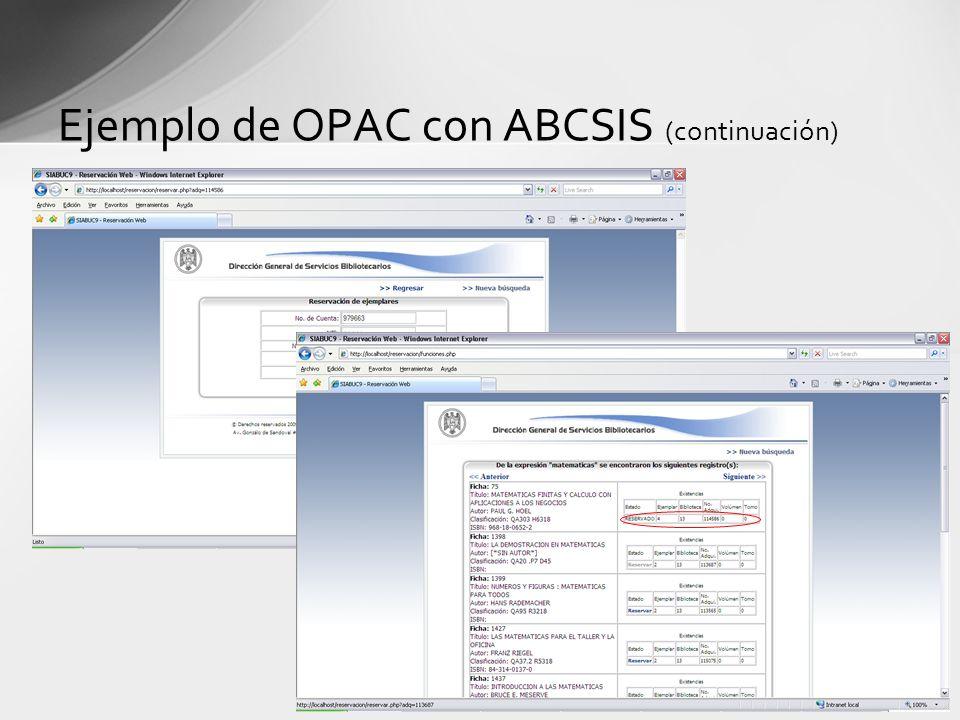Ejemplo de OPAC con ABCSIS (continuación)