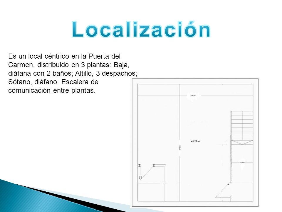 Es un local céntrico en la Puerta del Carmen, distribuido en 3 plantas: Baja, diáfana con 2 baños; Altillo, 3 despachos; Sótano, diáfano. Escalera de