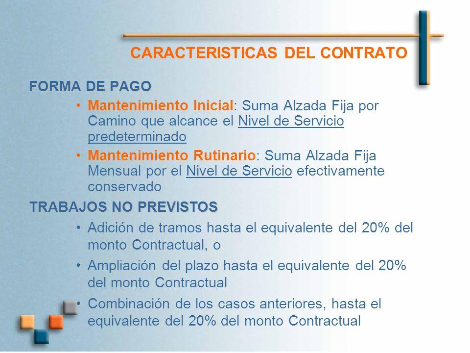 CARACTERISTICAS DEL CONTRATO FORMA DE PAGO Mantenimiento Inicial: Suma Alzada Fija por Camino que alcance el Nivel de Servicio predeterminado Mantenim