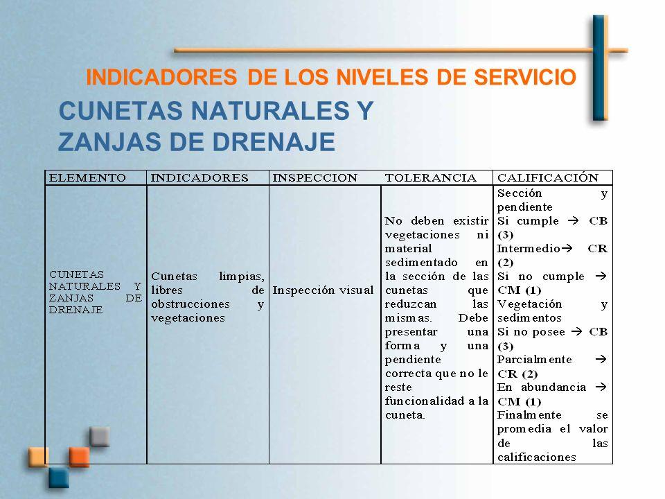 INDICADORES DE LOS NIVELES DE SERVICIO CUNETAS NATURALES Y ZANJAS DE DRENAJE