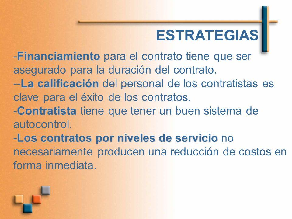 ESTRATEGIAS Financiamiento -Financiamiento para el contrato tiene que ser asegurado para la duración del contrato. La calificación --La calificación d
