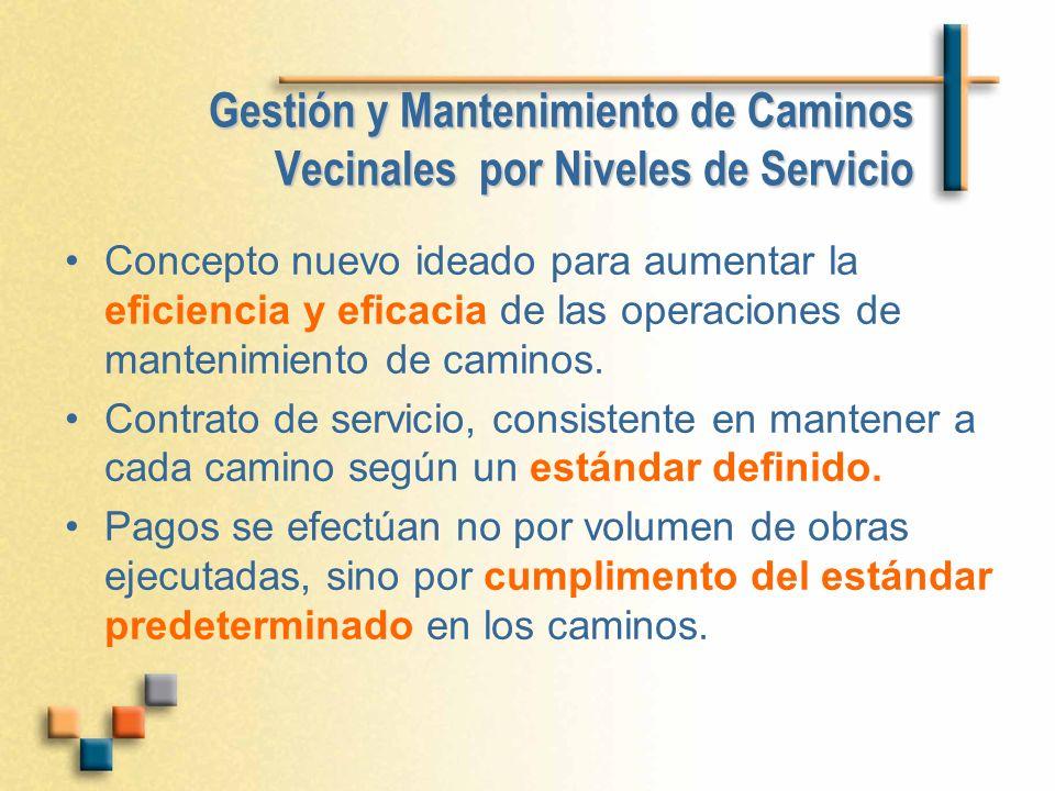 Gestión y Mantenimiento de Caminos Vecinales por Niveles de Servicio Concepto nuevo ideado para aumentar la eficiencia y eficacia de las operaciones d