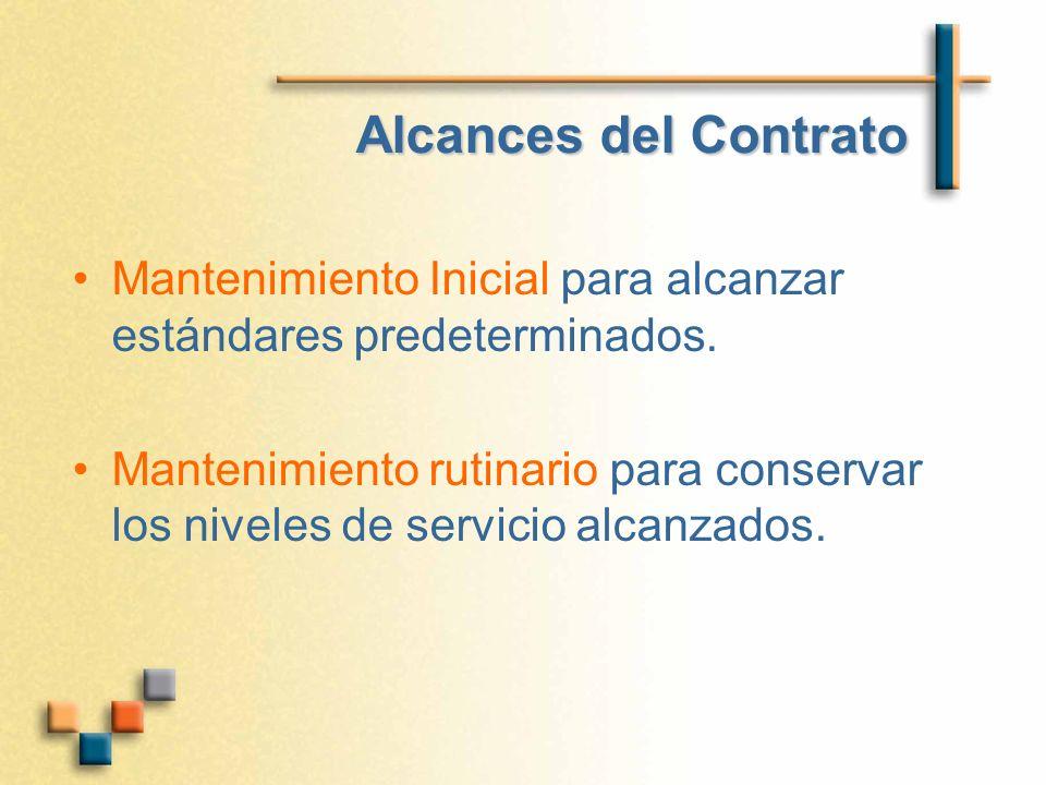 Alcances del Contrato Mantenimiento Inicial para alcanzar estándares predeterminados. Mantenimiento rutinario para conservar los niveles de servicio a