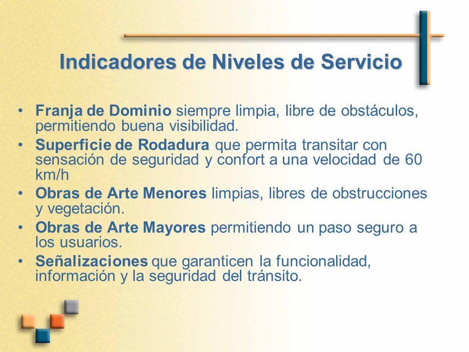 Indicadores de Niveles de Servicio Franja de Dominio siempre limpia, libre de obstáculos, permitiendo buena visibilidad.