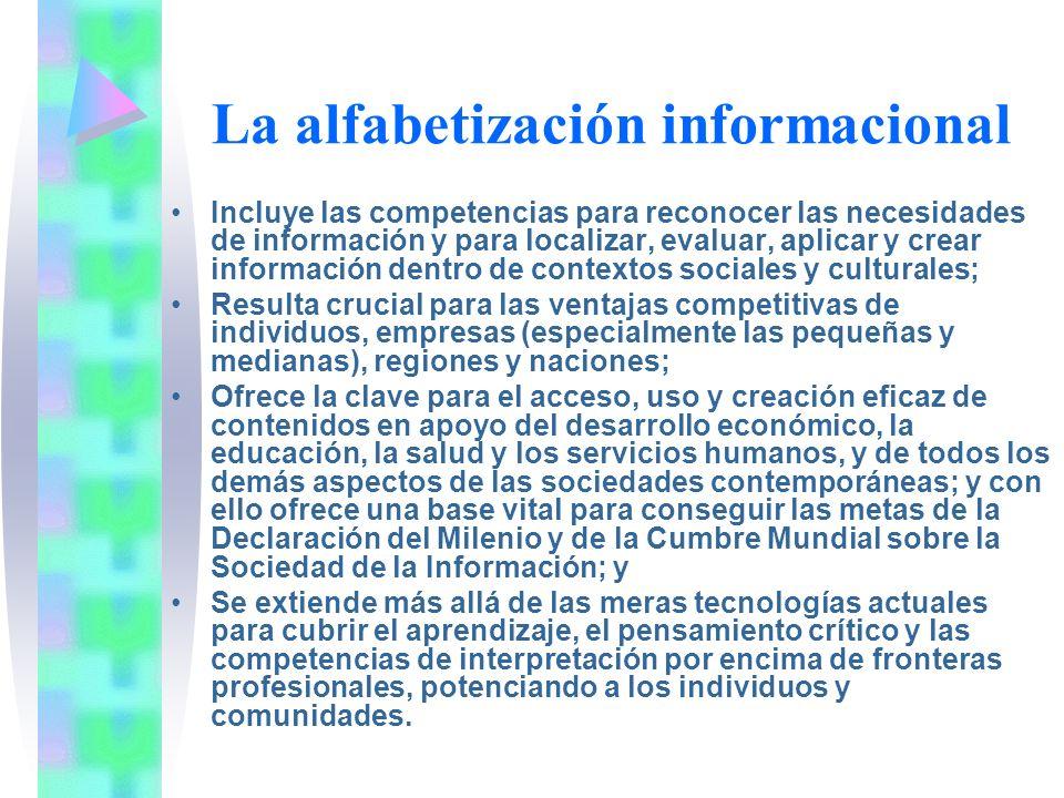 La alfabetización informacional Incluye las competencias para reconocer las necesidades de información y para localizar, evaluar, aplicar y crear info
