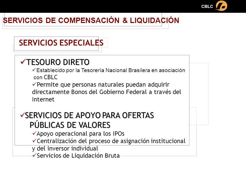 SERVICIOS DE COMPENSACIÓN & LIQUIDACIÓN TESOURO DIRETO TESOURO DIRETO Establecido por la Tesorería Nacional Brasilera en asociación con CBLC Permite q