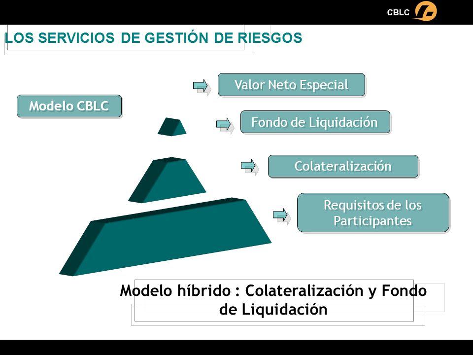 LOS SERVICIOS DE GESTIÓN DE RIESGOS Modelo CBLC Requisitos de los Participantes Colateralización Fondo de Liquidación Valor Neto Especial Modelo híbri