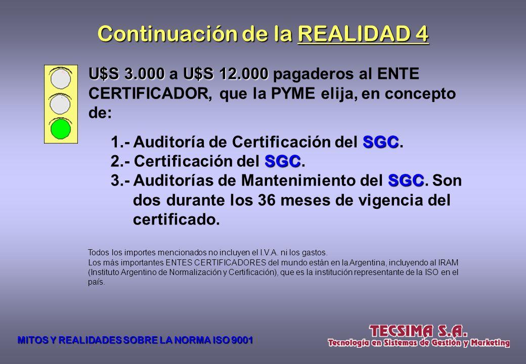 REALIDAD 4 La implementación, en una PYME en Argentina, de un SGC SGC, con los servicios de TECSIMA S.A., que se pueda certificar de acuerdo a la NORM