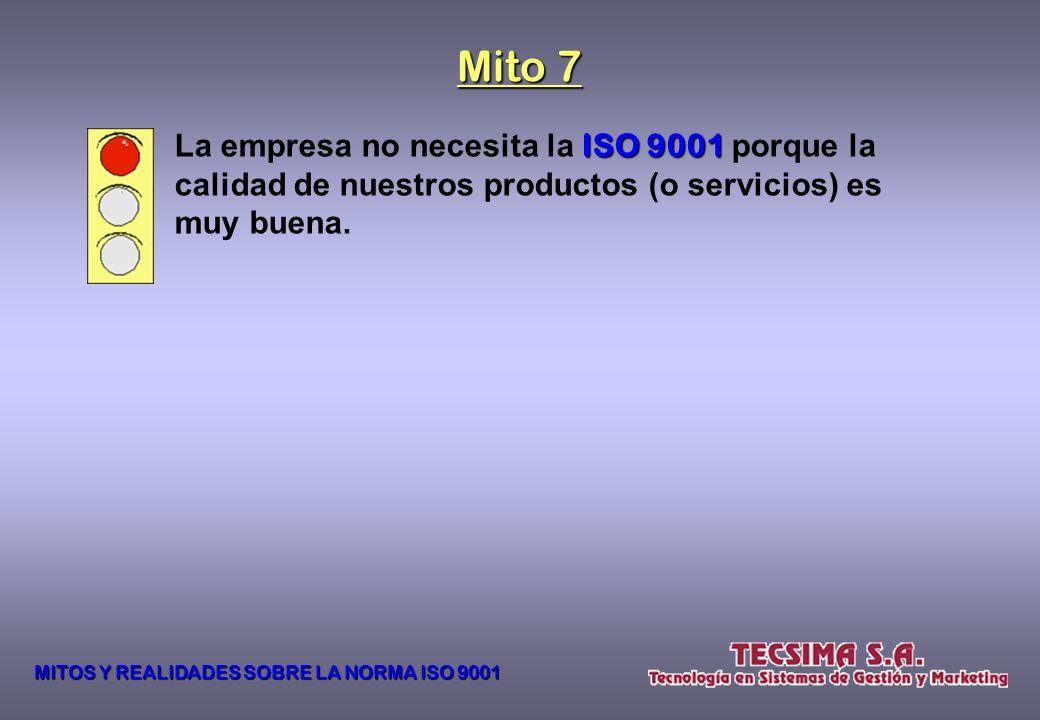 La NORMA ISO 9001:2008 9001:2008 no prevé ni recomienda la creación de un área específica dentro de la empresa para la administración y el mantenimien