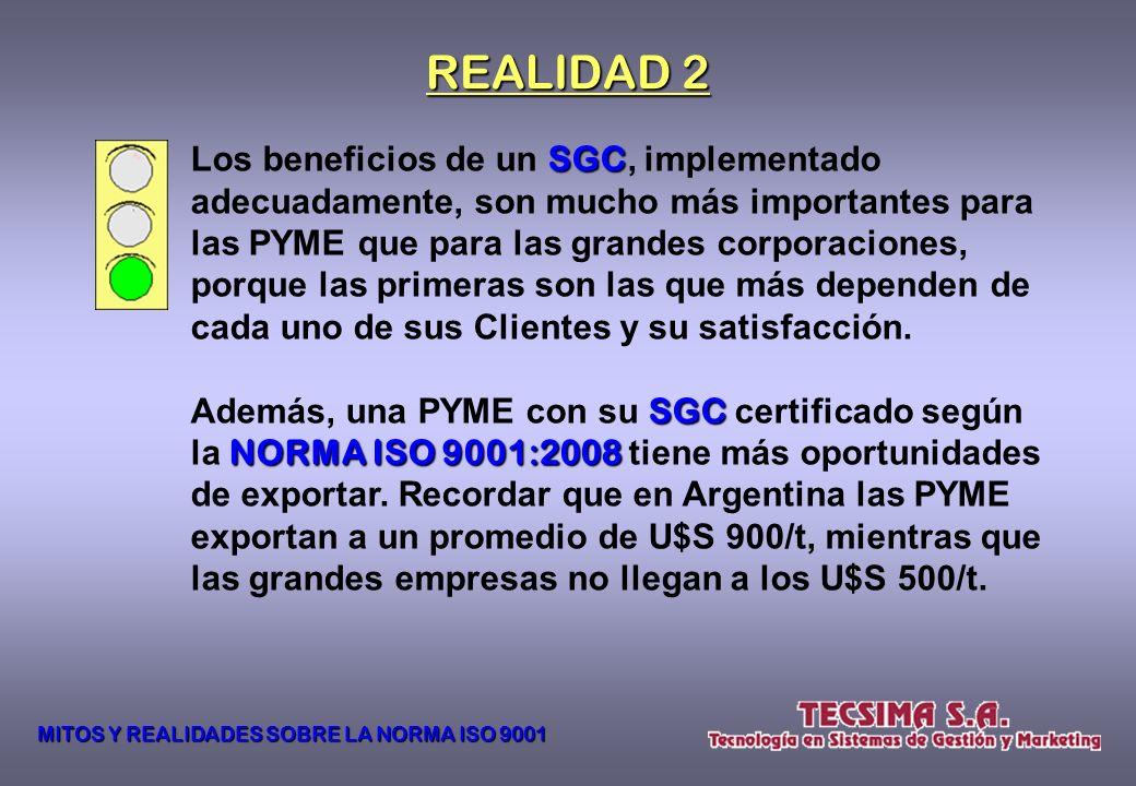 La ISO 9001 9001 sólo sirve para empresas grandes o multinacionales, especialmente si exportan. Mito 2 MITOS Y REALIDADES SOBRE LA NORMA ISO 9001