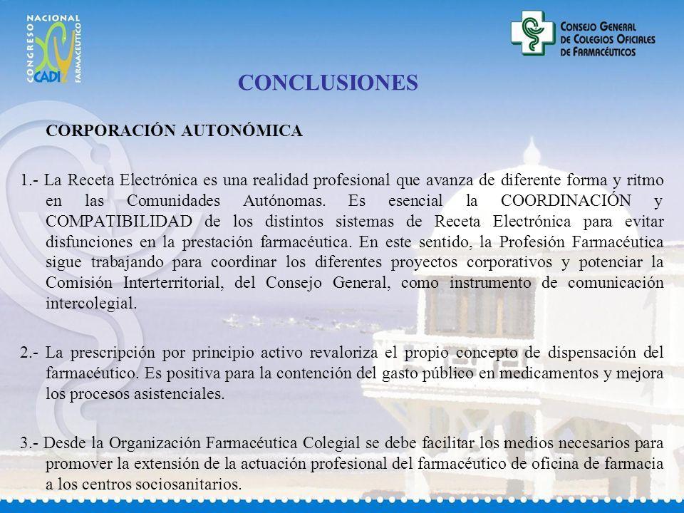 CONCLUSIONES CORPORACIÓN AUTONÓMICA 1.- La Receta Electrónica es una realidad profesional que avanza de diferente forma y ritmo en las Comunidades Autónomas.