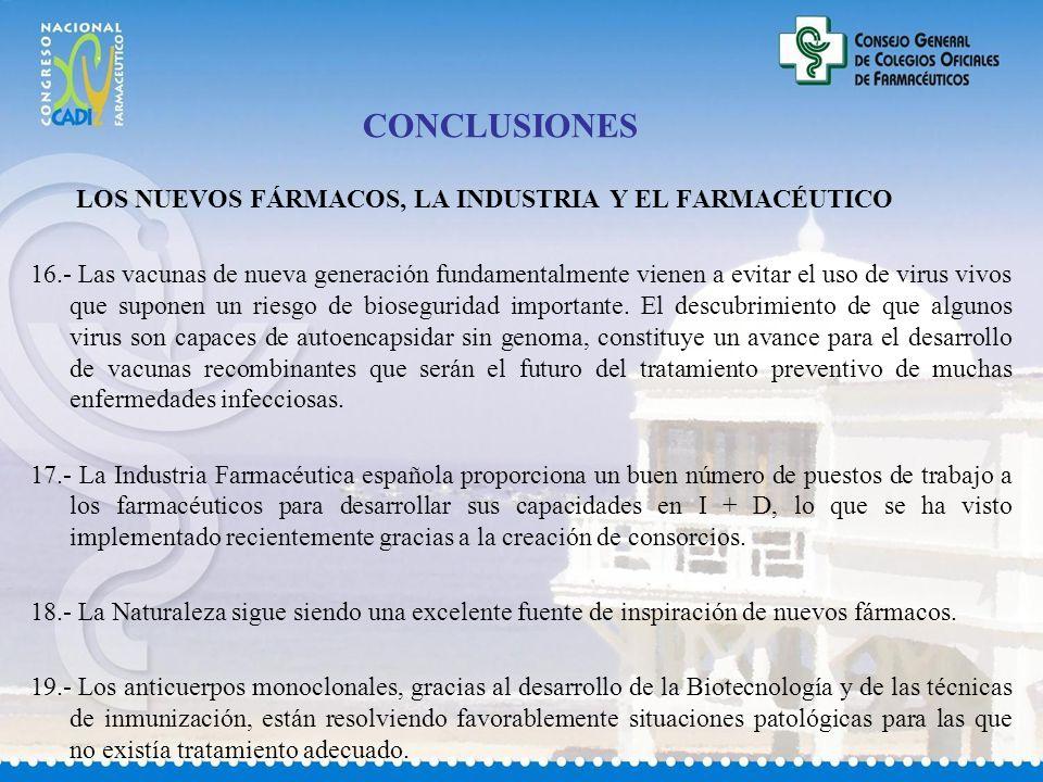 CONCLUSIONES LOS NUEVOS FÁRMACOS, LA INDUSTRIA Y EL FARMACÉUTICO 16.- Las vacunas de nueva generación fundamentalmente vienen a evitar el uso de virus vivos que suponen un riesgo de bioseguridad importante.
