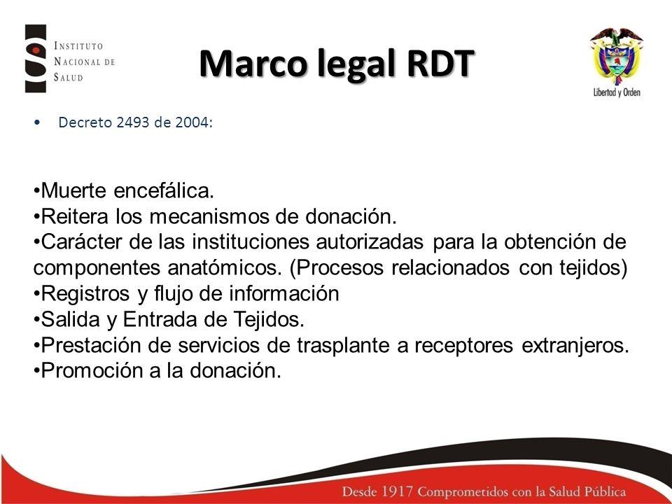 Marco legal RDT Decreto 2493 de 2004: Muerte encefálica. Reitera los mecanismos de donación. Carácter de las instituciones autorizadas para la obtenci