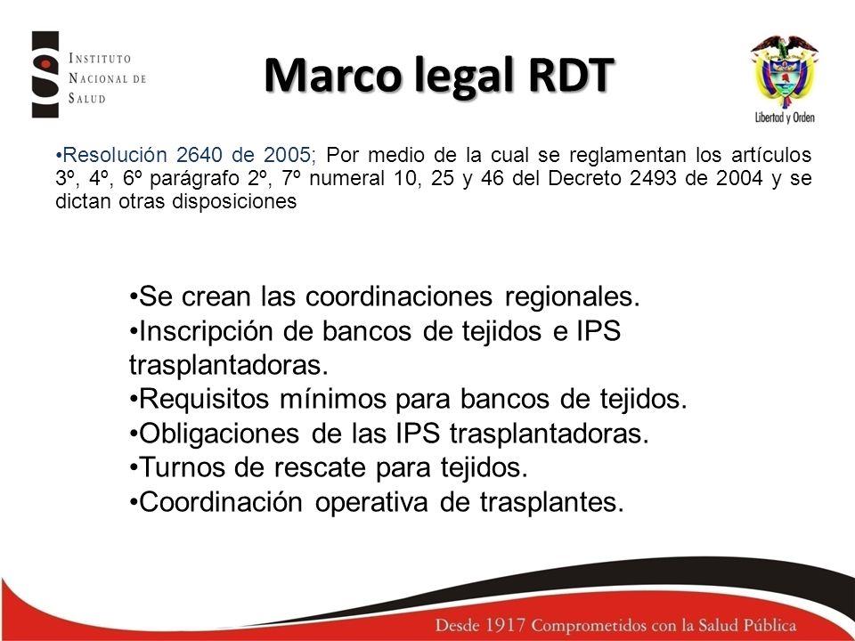 Marco legal RDT Resolución 2640 de 2005; Por medio de la cual se reglamentan los artículos 3º, 4º, 6º parágrafo 2º, 7º numeral 10, 25 y 46 del Decreto