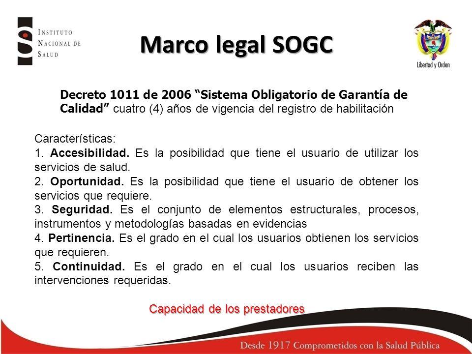 Marco legal SOGC Decreto 1011 de 2006 Sistema Obligatorio de Garantía de Calidad cuatro (4) años de vigencia del registro de habilitación Característi