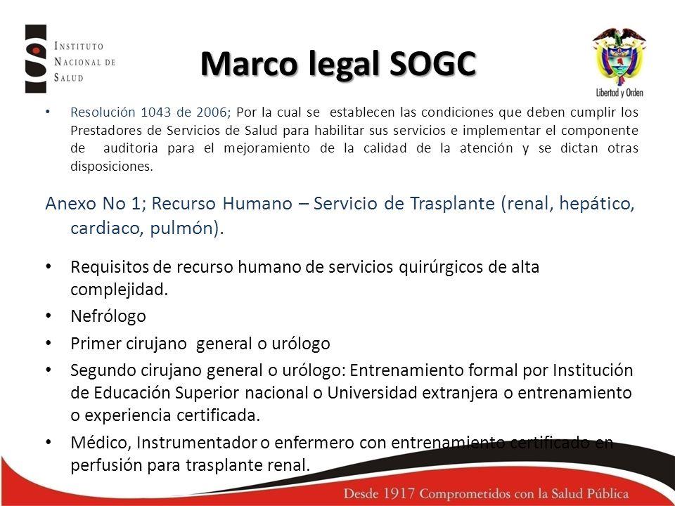 Marco legal SOGC Resolución 1043 de 2006; Por la cual se establecen las condiciones que deben cumplir los Prestadores de Servicios de Salud para habil