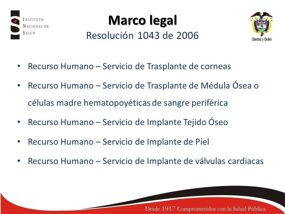 Recurso Humano – Servicio de Trasplante de corneas Recurso Humano – Servicio de Trasplante de Médula Ósea o células madre hematopoyéticas de sangre pe