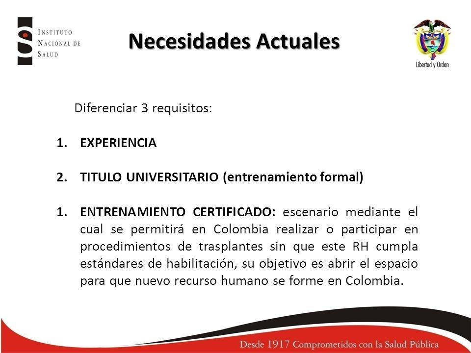 Necesidades Actuales Diferenciar 3 requisitos: 1.EXPERIENCIA 2.TITULO UNIVERSITARIO (entrenamiento formal) 1.ENTRENAMIENTO CERTIFICADO: escenario medi