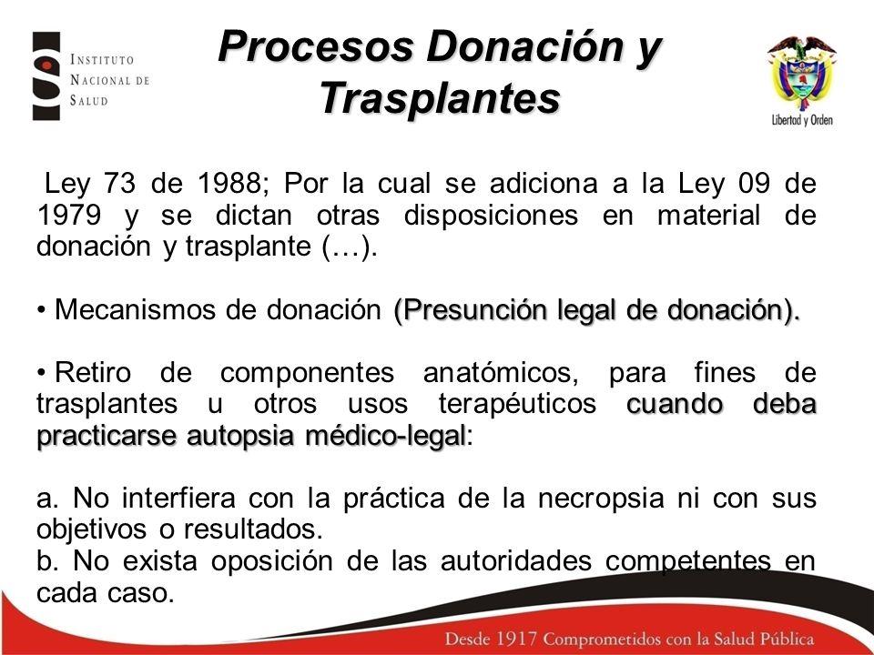 Ley 73 de 1988; Por la cual se adiciona a la Ley 09 de 1979 y se dictan otras disposiciones en material de donación y trasplante (…). (Presunción lega