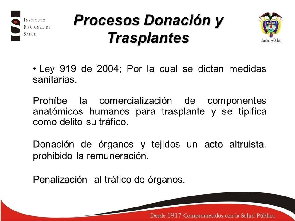 Ley 919 de 2004; Se prohíbe la comercialización de CA (…) funcionen con la debida autorización DV, transporte indispensables para la realización del trasplante donante controles subsiguientes a dicho procedimiento Las entidades que funcionen con la debida autorización (bancos de tejido y de médula ósea y las IPS con programas de trasplantes, podrán cobrar los costos ocasionados por la hospitalización del DV, el cuidado médico del mismo, el Dx, la extracción, preservación, las pruebas o exámenes requeridos previamente para la donación o el suministro, el transporte, el valor de las pruebas inmunológicas y de histocompatibilidad indispensables para la realización del trasplante, el valor del trasplante, gastos de hospitalización, cirugía y cuidado médico postoperatorio del paciente trasplantado y del donante, el suministro de medicamentos y los controles subsiguientes a dicho procedimiento.