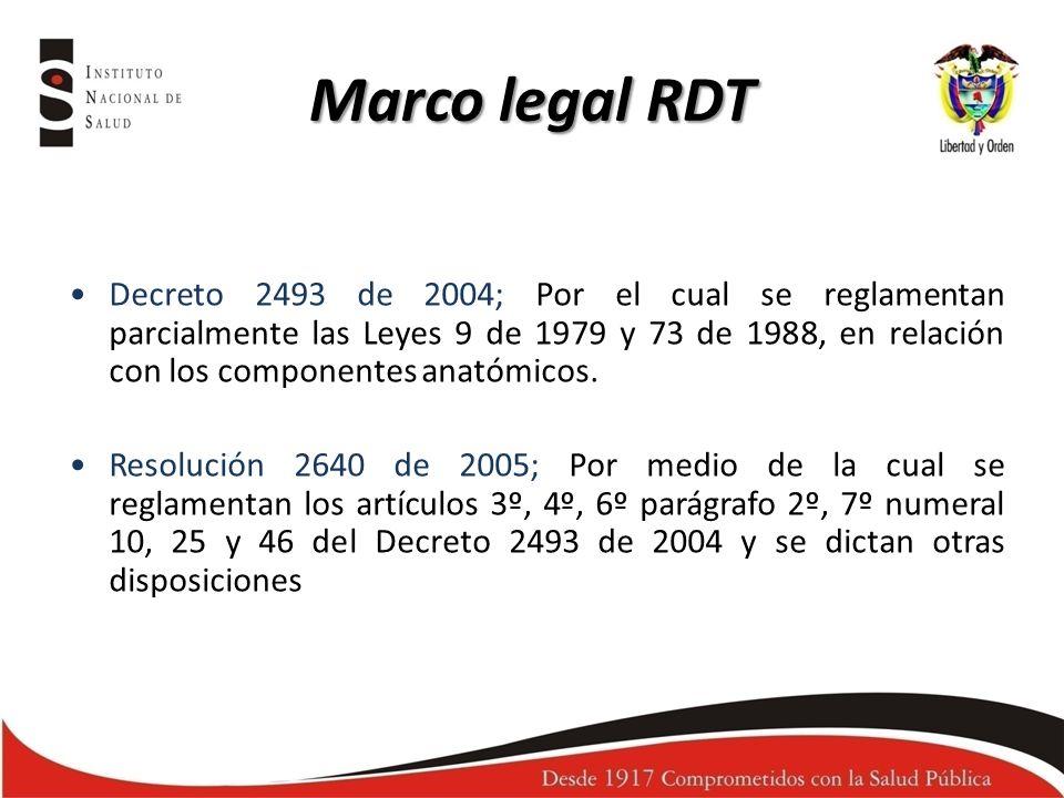 Marco legal RDT Decreto 2493 de 2004; Por el cual se reglamentan parcialmente las Leyes 9 de 1979 y 73 de 1988, en relación con los componentes anatóm