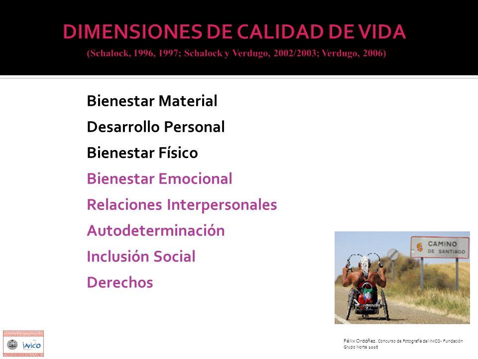Bienestar Material Desarrollo Personal Bienestar Físico Bienestar Emocional Relaciones Interpersonales Autodeterminación Inclusión Social Derechos Fél