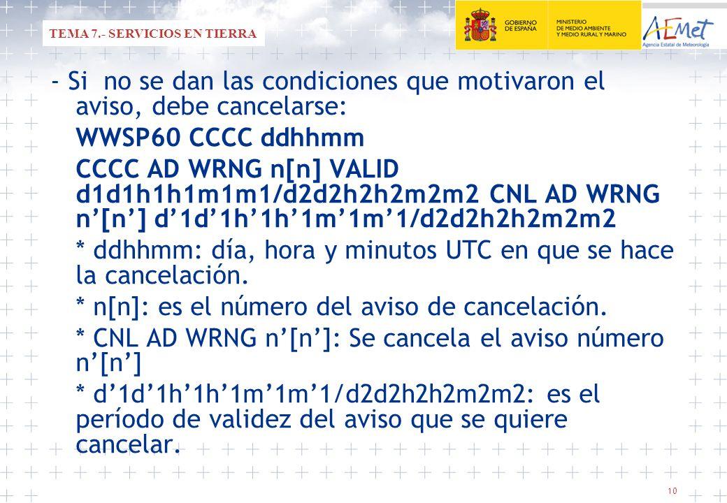 10 - Si no se dan las condiciones que motivaron el aviso, debe cancelarse: WWSP60 CCCC ddhhmm CCCC AD WRNG n[n] VALID d1d1h1h1m1m1/d2d2h2h2m2m2 CNL AD