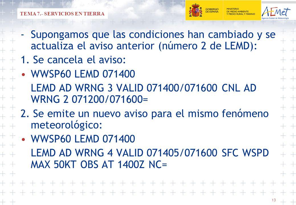 13 -Supongamos que las condiciones han cambiado y se actualiza el aviso anterior (número 2 de LEMD): 1. Se cancela el aviso: WWSP60 LEMD 071400 LEMD A