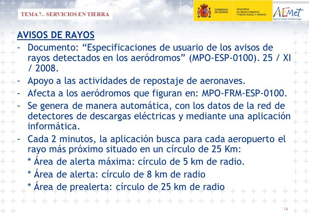 14 AVISOS DE RAYOS -Documento: Especificaciones de usuario de los avisos de rayos detectados en los aeródromos (MPO-ESP-0100). 25 / XI / 2008. -Apoyo