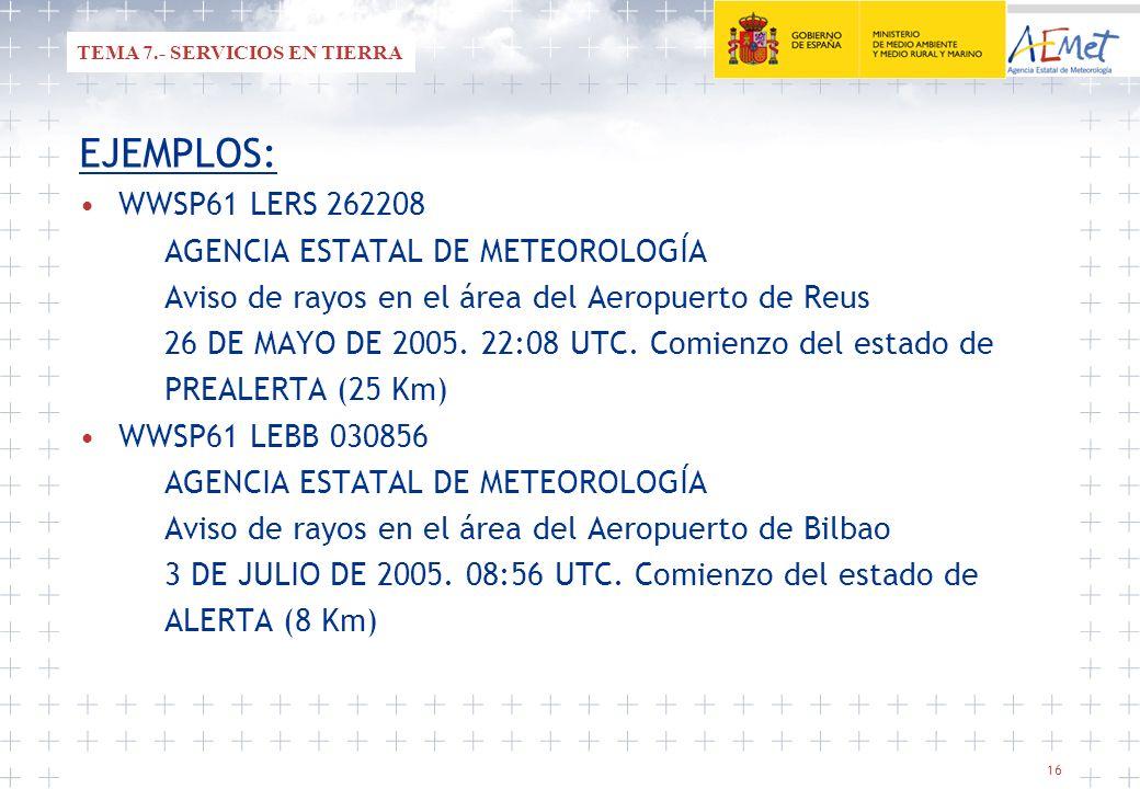 16 EJEMPLOS: WWSP61 LERS 262208 AGENCIA ESTATAL DE METEOROLOGÍA Aviso de rayos en el área del Aeropuerto de Reus 26 DE MAYO DE 2005. 22:08 UTC. Comien