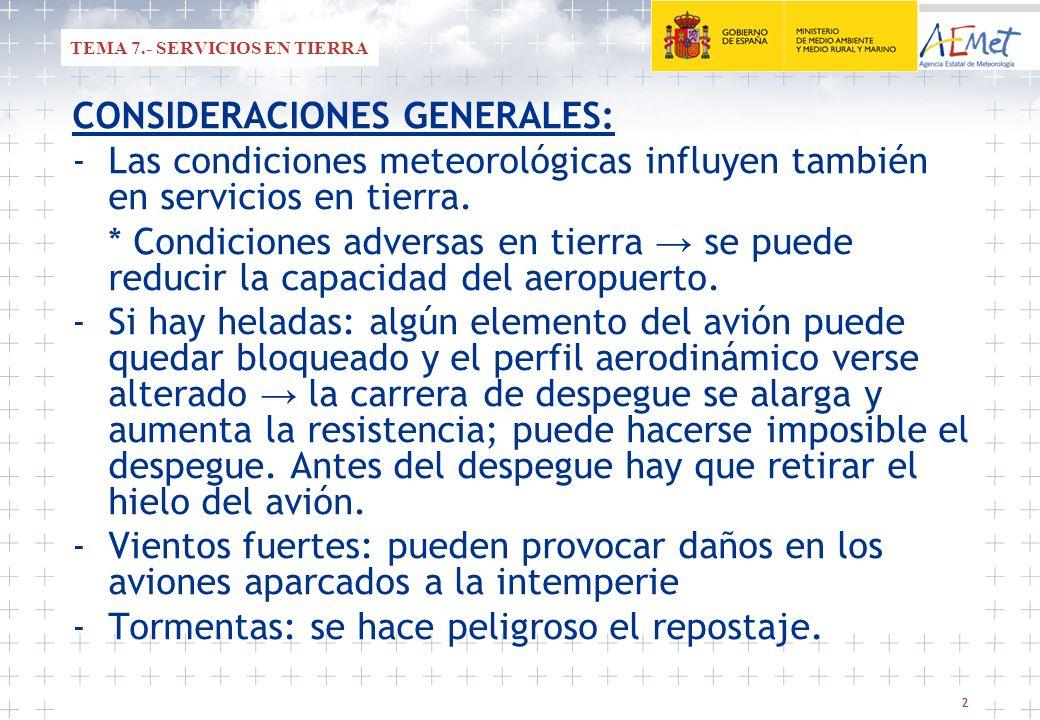 22 TEMA 7.- SERVICIOS EN TIERRA CONSIDERACIONES GENERALES: -Las condiciones meteorológicas influyen también en servicios en tierra. * Condiciones adve