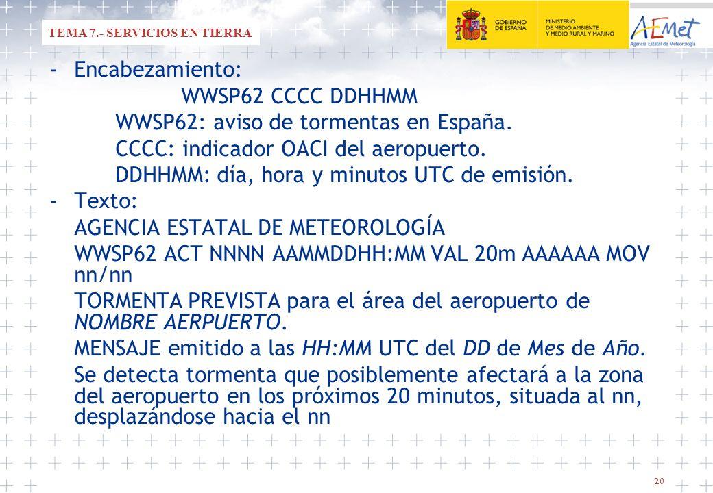 20 -Encabezamiento: WWSP62 CCCC DDHHMM WWSP62: aviso de tormentas en España. CCCC: indicador OACI del aeropuerto. DDHHMM: día, hora y minutos UTC de e