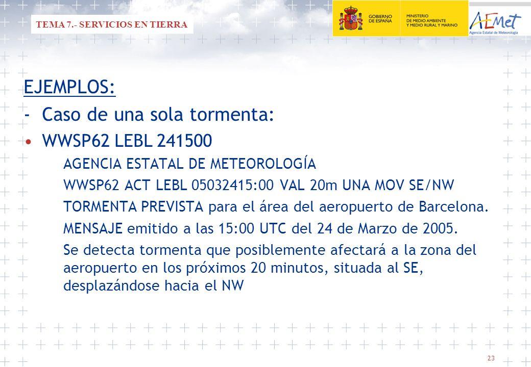 23 EJEMPLOS: -Caso de una sola tormenta: WWSP62 LEBL 241500 AGENCIA ESTATAL DE METEOROLOGÍA WWSP62 ACT LEBL 05032415:00 VAL 20m UNA MOV SE/NW TORMENTA