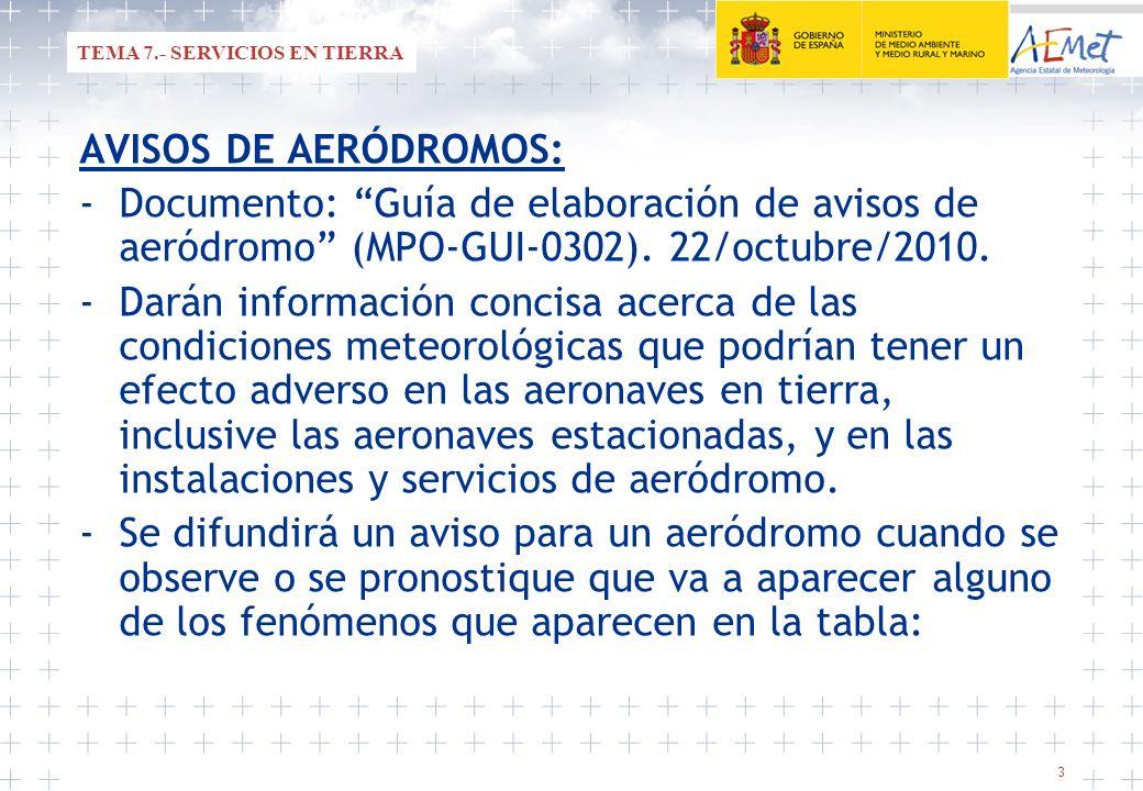 3 AVISOS DE AERÓDROMOS: -Documento: Guía de elaboración de avisos de aeródromo (MPO-GUI-0302). 22/octubre/2010. -Darán información concisa acerca de l