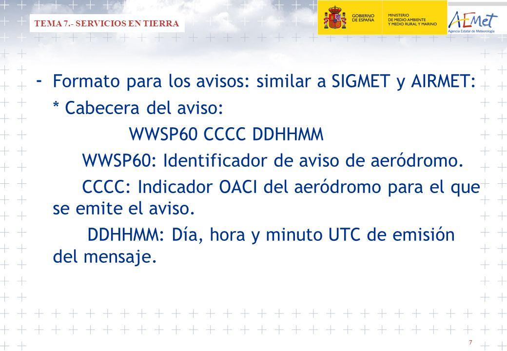 8 CONTENIDO DEL MENSAJE: CCCC AD WRNG n[n] VALID nnnnnn/nnnnnn [PROB30, PROB40, PROB70][MOD, HVY] (fenómeno met) (observado o pronosticado) (intensidad) * CCCC: Indicador OACI del aeródromo para el que se emite el aviso.