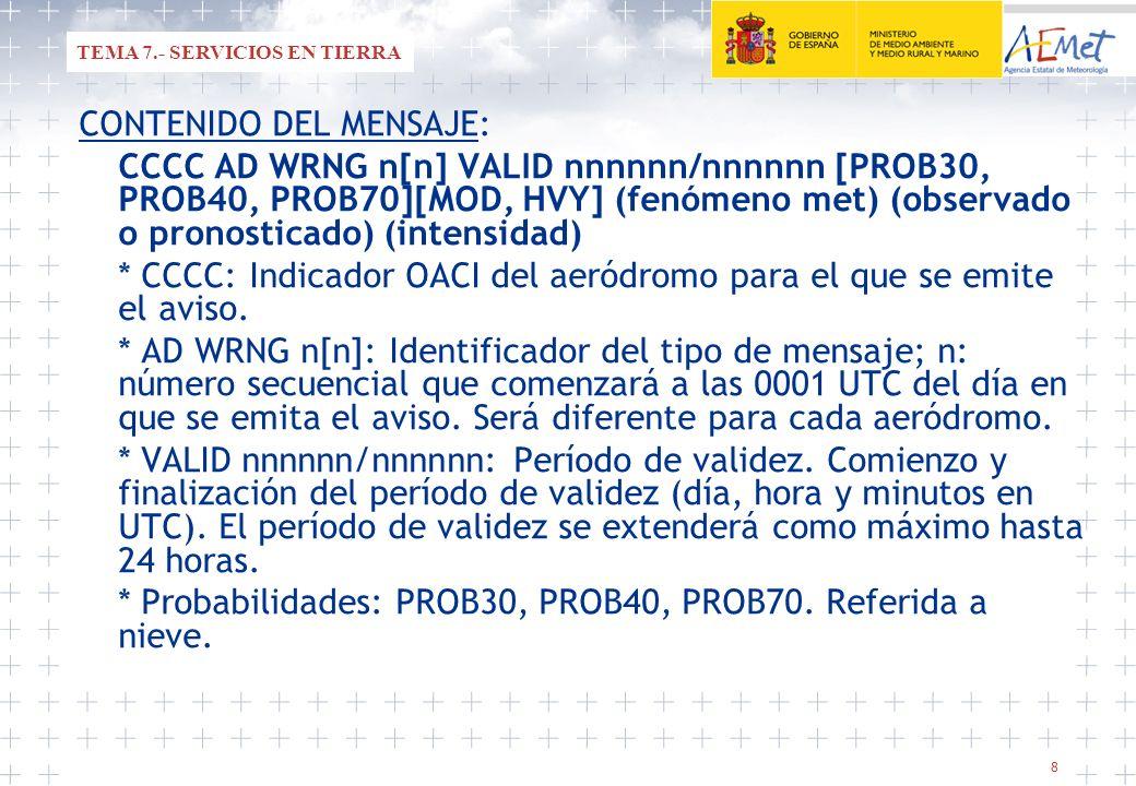 9 CCCC AD WRNG n[n] VALID nnnnnn/nnnnnn [PROB30, PROB40, PROB70][MOD, HVY] (fenómeno met) (observado o pronosticado) (intensidad) * Calificadores MOD (moderado) o HVY (fuerte): MOD: se utilizará con FROST.