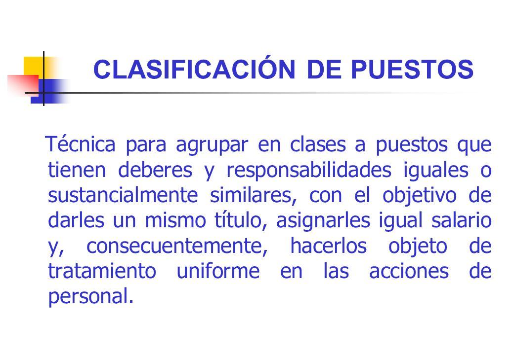 CLASIFICACIÓN DE PUESTOS Técnica para agrupar en clases a puestos que tienen deberes y responsabilidades iguales o sustancialmente similares, con el o