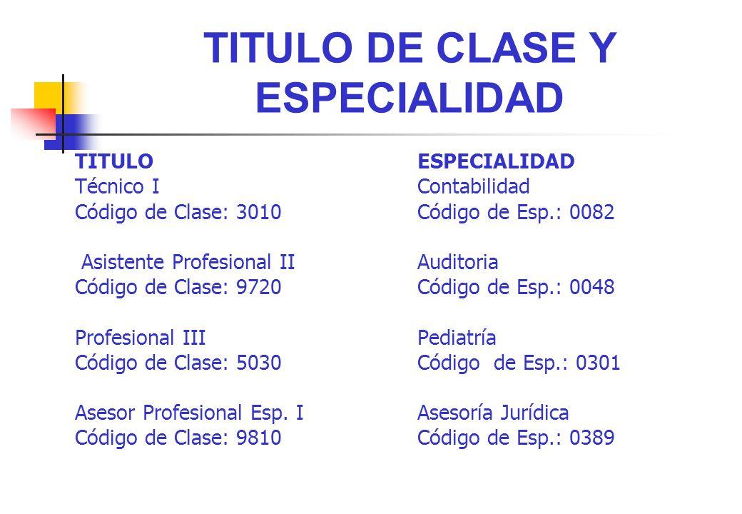 TITULO DE CLASE Y ESPECIALIDAD TITULOESPECIALIDAD Técnico IContabilidad Código de Clase: 3010Código de Esp.: 0082 Asistente Profesional IIAuditoria Có