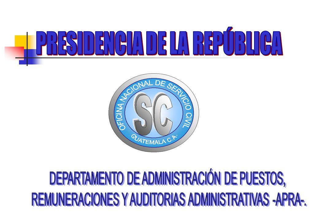 DEPARTAMENTO DE APRA Es el Departamento responsable de la administración del Plan de Clasificación de Puestos y Remuneraciones para los servidores públicos, lo que conlleva ser el ente rector de todas las acciones de puestos contempladas en el Acuerdo Gubernativo No.