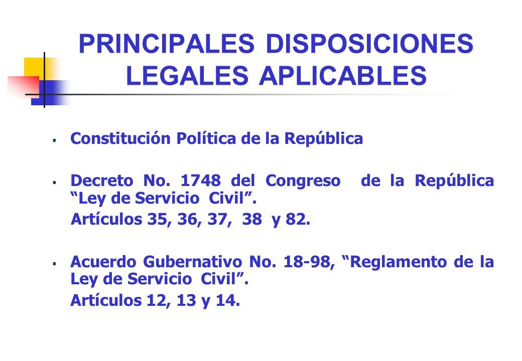 PRINCIPALES DISPOSICIONES LEGALES APLICABLES Constitución Política de la República Decreto No. 1748 del Congreso de la República Ley de Servicio Civil