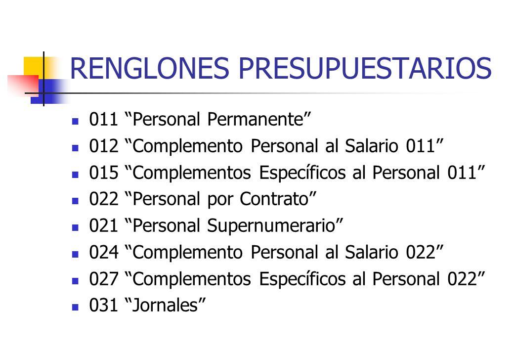 RENGLONES PRESUPUESTARIOS 011 Personal Permanente 012 Complemento Personal al Salario 011 015 Complementos Específicos al Personal 011 022 Personal po