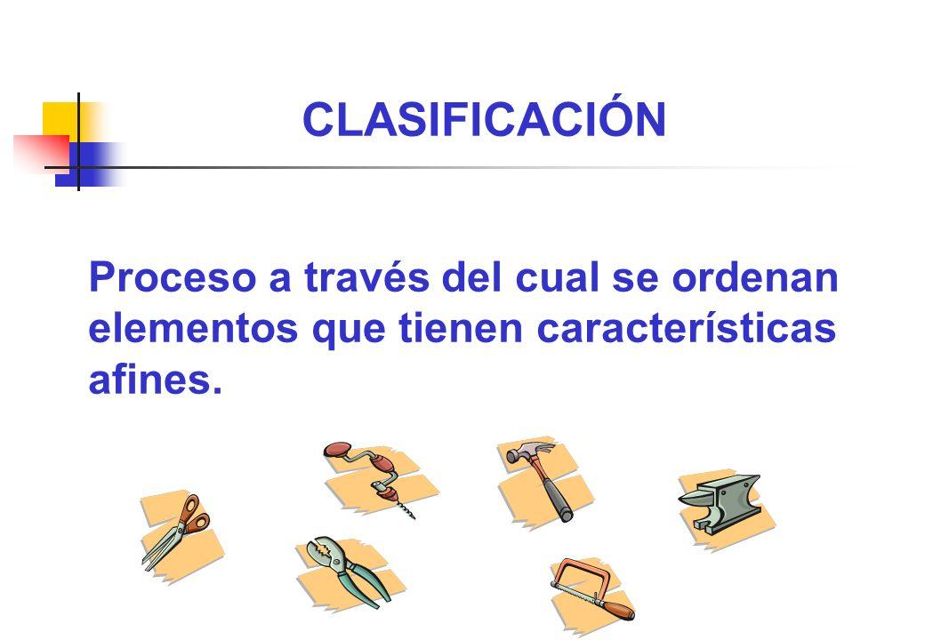 CLASIFICACIÓN Proceso a través del cual se ordenan elementos que tienen características afines.