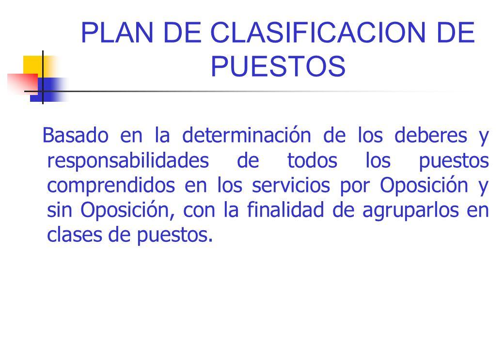 PLAN DE CLASIFICACION DE PUESTOS Basado en la determinación de los deberes y responsabilidades de todos los puestos comprendidos en los servicios por