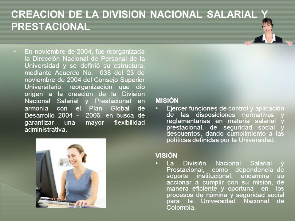 CREACION DE LA DIVISION NACIONAL SALARIAL Y PRESTACIONAL MISIÓN Ejercer funciones de control y aplicación de las disposiciones normativas y reglamenta
