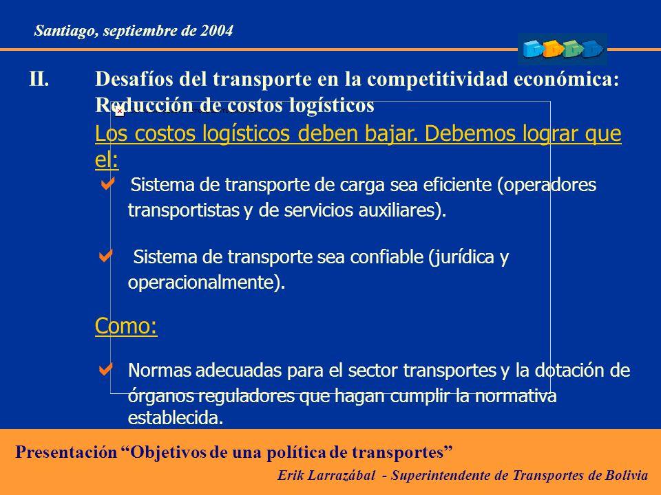 Erik Larrazábal - Superintendente de Transportes de Bolivia Presentación Objetivos de una política de transportes Santiago, septiembre de 2004 II.Desafíos del transporte en la competitividad económica: Reducción de costos logísticos Los costos logísticos deben bajar.